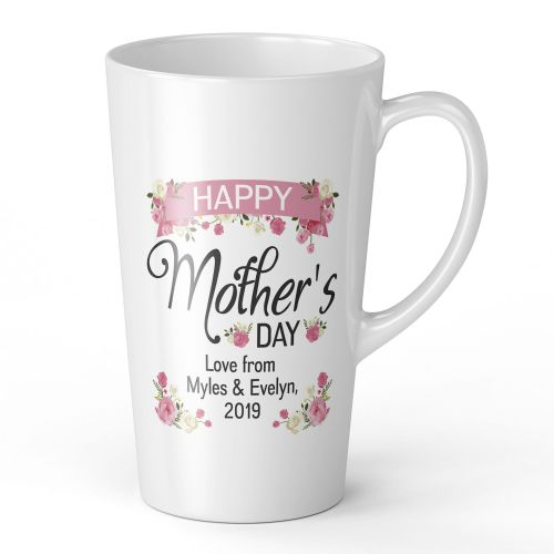 17oz Personalised Happy Mothers Day Lovely Floral Novelty Gift Latte Mug